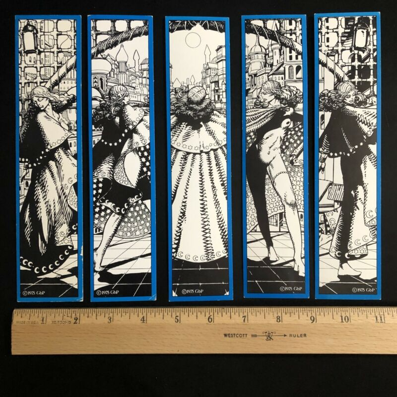 Barry Windsor Smith MOON & STAR VTG BOOKMARK SET OF 5 1st ed. 1975 Blue Valeria