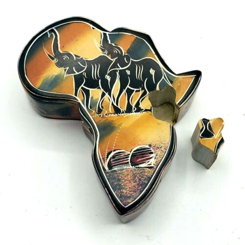 """African Elephant Polished Stone Africa Continent 4.5"""" Puzzle Trinket Box"""