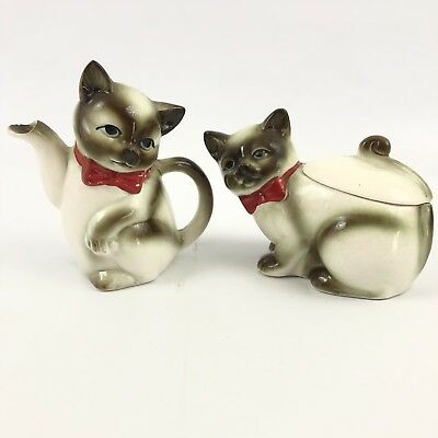 Vintage Ceramic Siamese Cat Creamer And Sugar Bowl with Lid Japanese Kasuga Ware