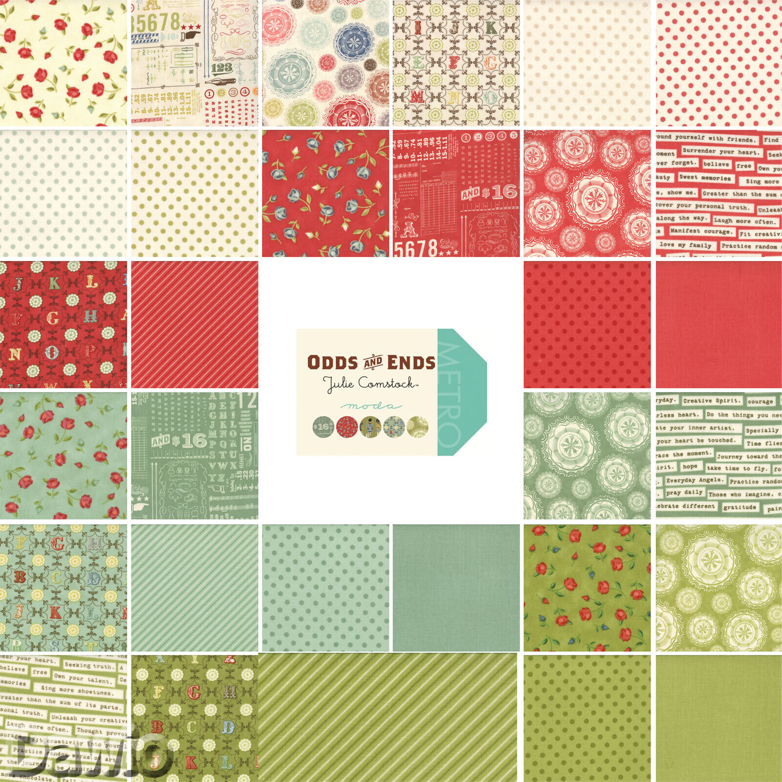 """Charm Pack /""""Table for Two/""""  Herzen Moda Patchwork Stoff 42 Scraps à 5/"""" 12,7cm"""