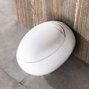 Oval Egg Design Back To Wall Hung Toilet Soft Close Seat Bathroom WC Pan