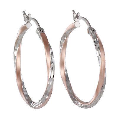 Echt 925 Silber Rosegold Creolen Ohrringe bicolor groß diamantiert Damen 30mm online kaufen
