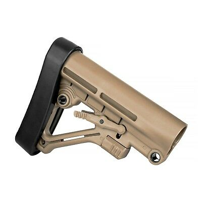 Tactical .223 5.56 Mil-Spec A-Frame 6 Position Collapsible Butt Stock & Pad FDE