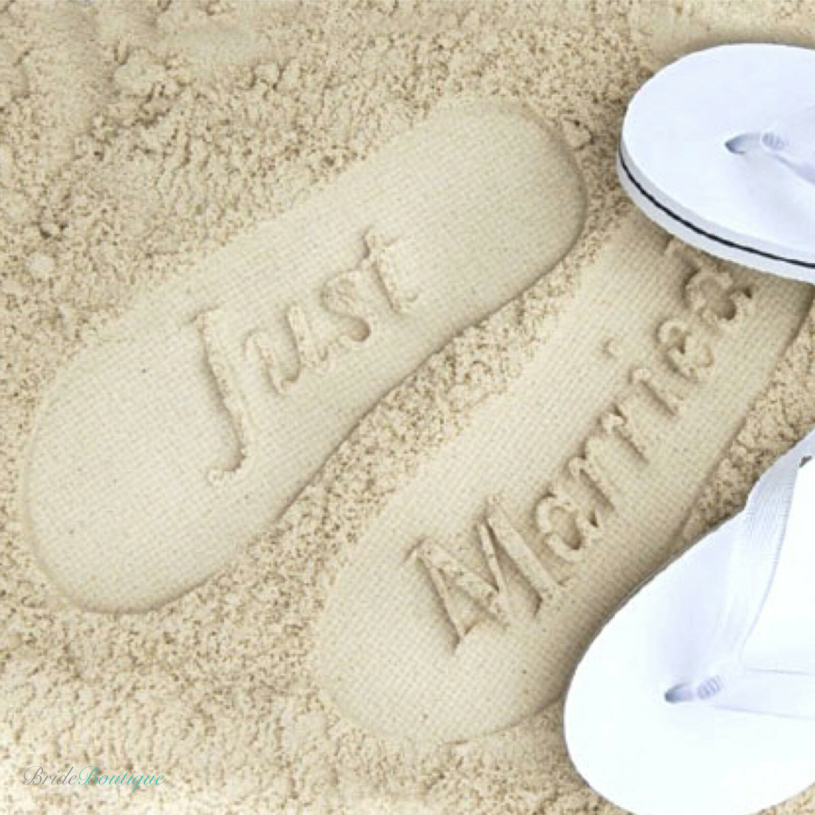 2b67dbee2ada46 Details about Just Married Mr   Mrs Bride   Groom Wedding Honeymoon Gift Flip  Flops Sandals