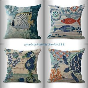 4pcs Cushion Covers Beach Coastal Seahorse Turtle Sea Life Fish Cushion Pillow