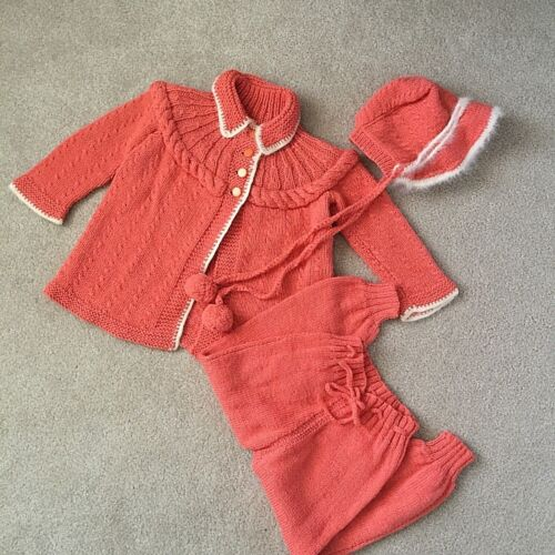 Vintage 3 Piece Hand Knit Toddler Cardigan Sweater Pants Bonnet Angora Coral