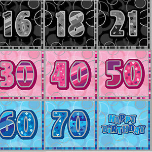16-x-Aged-Happy-Birthday-Paper-Napkins-16th-70th-Party-Tableware-3-ply-3-Colours