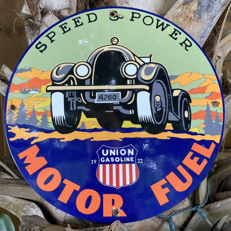 VINTAGE 1922 UNION GASOLINE PORCELAIN METAL SIGN USA Motor Fuel Oil Gas Station