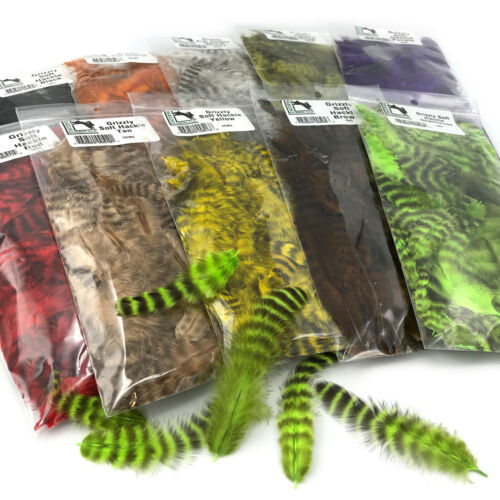 HARELINE GRIZZLY SOFT HACKLE - Barred Fly Tying Feathers - 10 Colors Available!