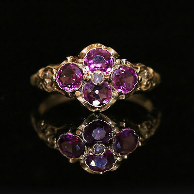 GEORGIAN ALMANDINE GARNET DIAMOND RING 18CT GOLD CIRCA 1800s