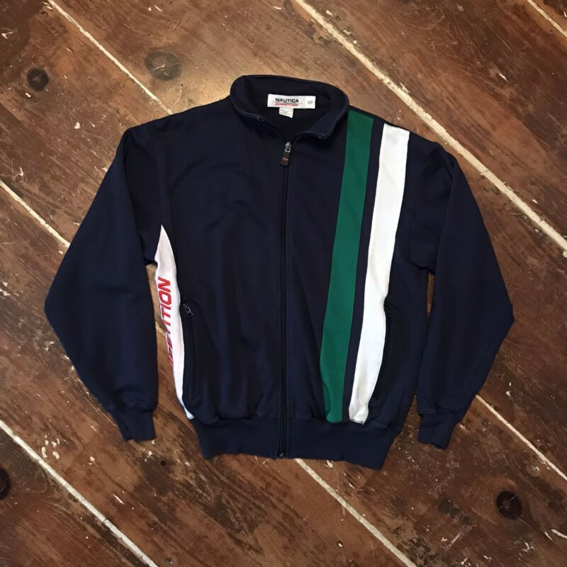 Vintage 90s Nautica Competition Zip Sweatshirt Mens Small Windbreaker Jacket