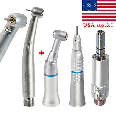 Dental High Low Speed Handpiece Kit Push Button 2hole Egenerator Led For Nsk Fda