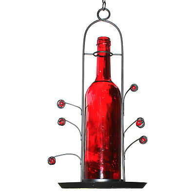 NEW Hanging Wine Bottle Bird Seed Cafe Feeder Vino Great Gift Bottom Fill Red
