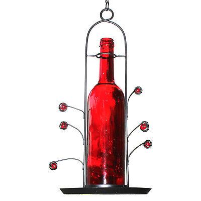 NEW Hanging Wine Bottle Bird Seed Cafe Feeder Vino Great Gift Bottom Fill Red
