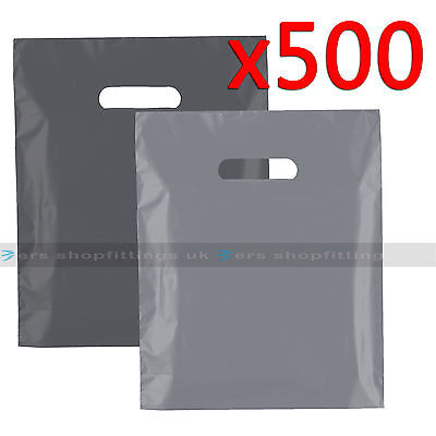 500 Plastic Carrier Bags Strong Patch Handle Shopping Bags Grey FOR E-CIG 12x14