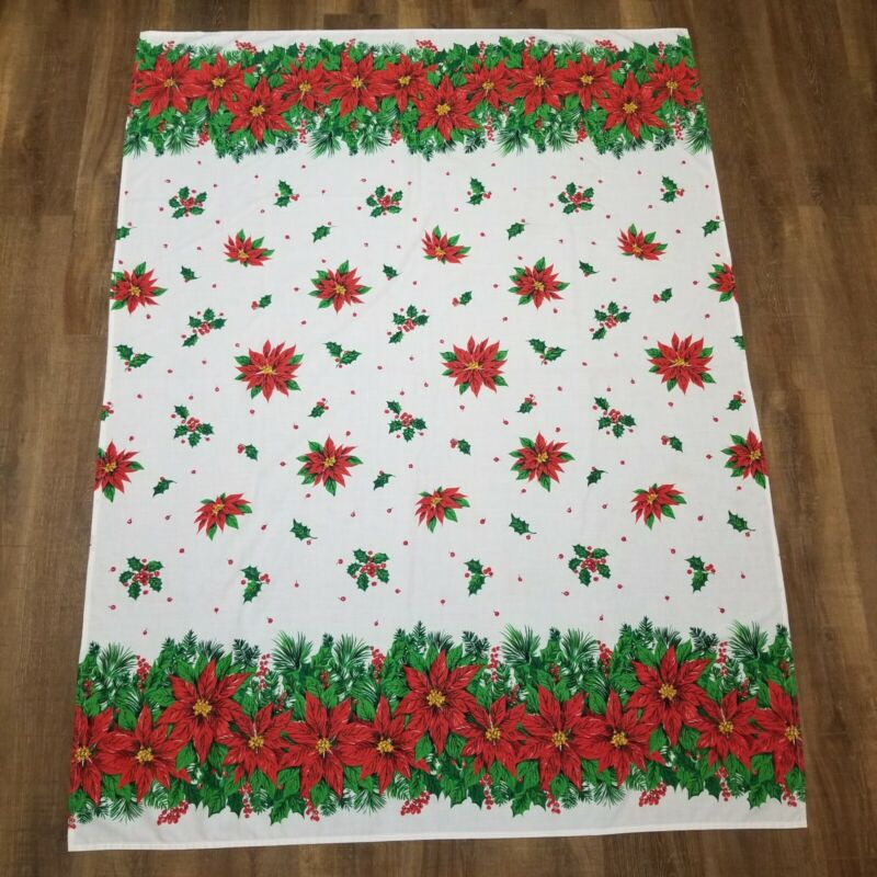 """Vintage Christmas Fabric Tablecloth Poinsettia Spring Mills 54"""" x 71"""" Rectangle"""