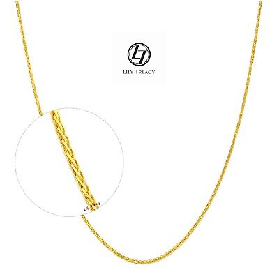 18K Solid Gold Chain Necklace Yellow White Gold Square Spiga Wheat Chain 18