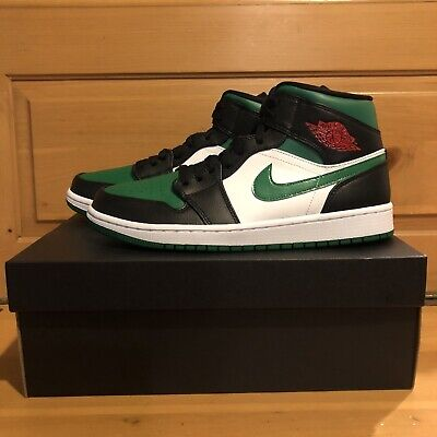Nike Air Jordan 1 Mid Pine Green Toe 554724-067 Green Black White Shoes Size 9.5