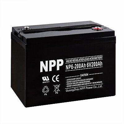 NPP 6V 200Ah 200 Amp AGM Resounding Cycle Camper Golf Cart RV Boat Solar Wind Battery