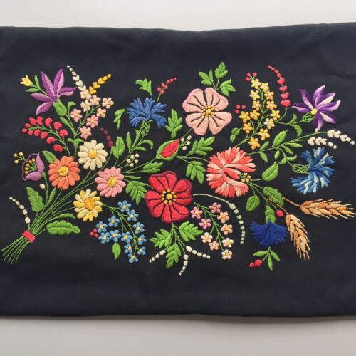 Vintage Art Kalocsai Hungarian Folk Pillowcase Black 21x15""