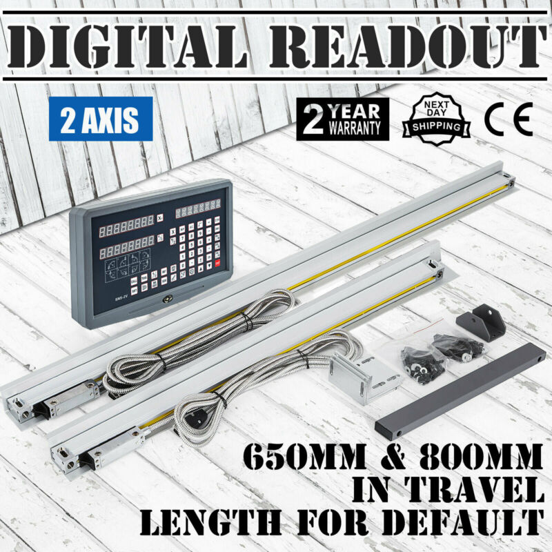 2 Axis DRO For Milling Lathe Machine & 2 Linear Scales Digital Readout Meter FS
