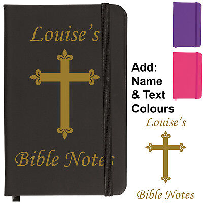 Christian Religious Holy Bible Soft Feel Ruled Lined A6 Notebook Personalised