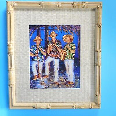 Beach Tiki Bar with Musicians Bamboo Framed Art Print Ukulele by Joe Severson