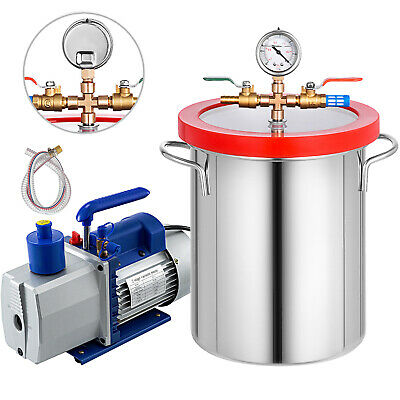 3 Gallon Vacuum Chamber 7cfm Vacuum Pump 2 Stage 1720rpm 34hp Degassing