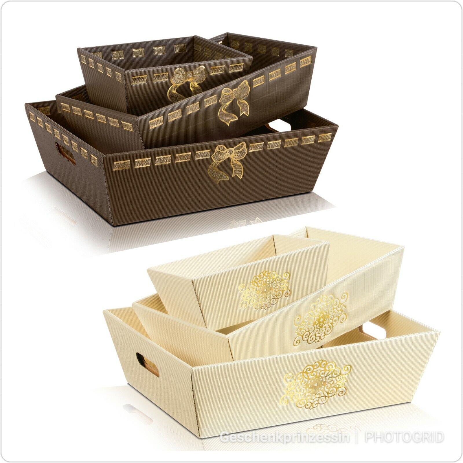 Präsentkorb leer mit Schleife oder Signum braun gold creme vers. Größen Geschenk