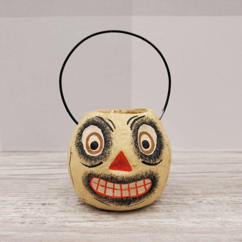 Bethany Lowe Designs Mini Halloween Bucket Ornament Cream Pumpkin