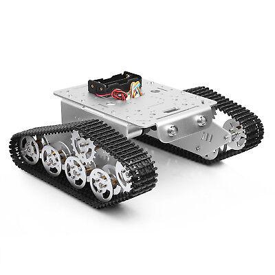Tracked Robot Smart Car Platform Metal Tank Chassis Dual Dc 9v Motor Silver