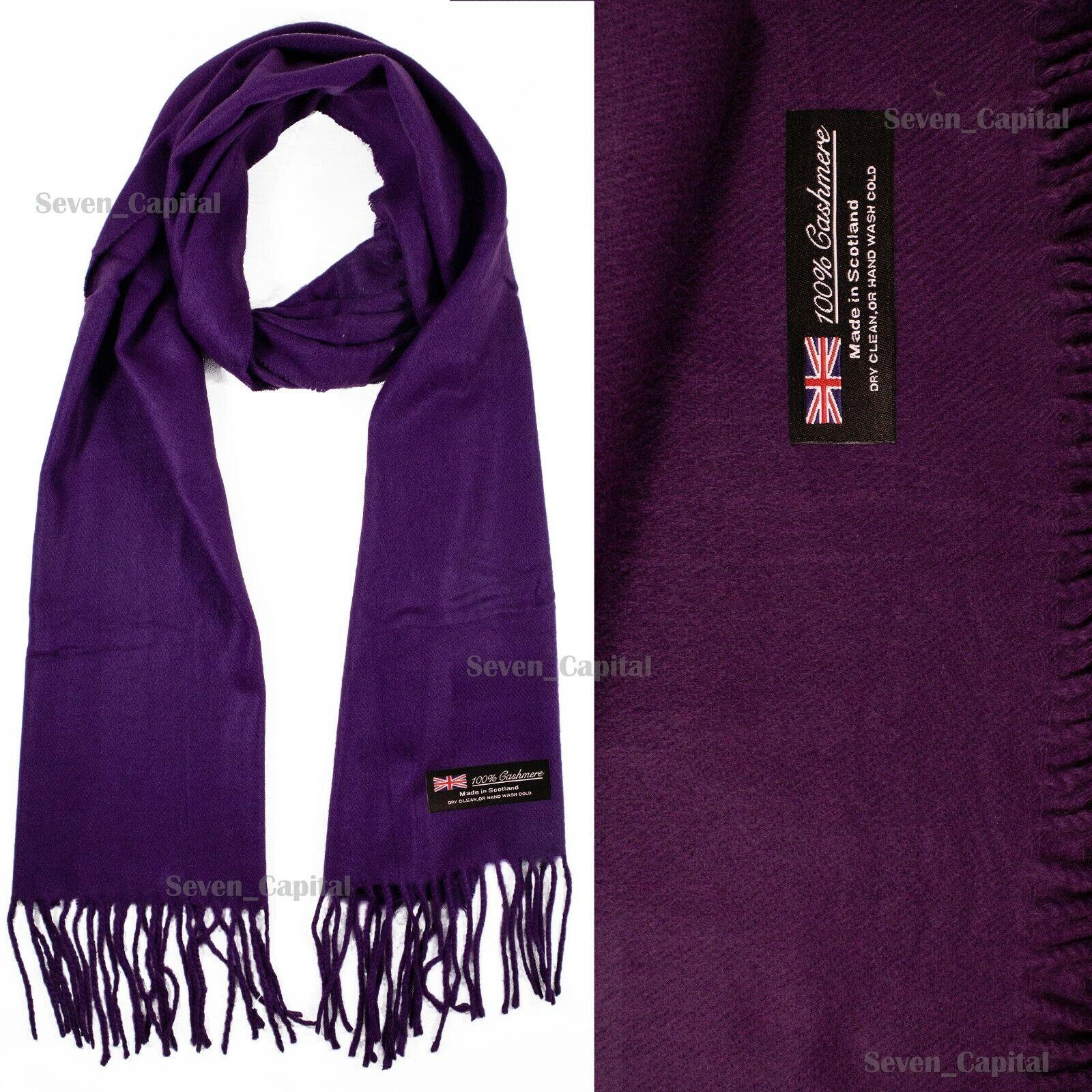 Mens Womens Winter Warm SCOTLAND Made 100% CASHMERE Scarf Scarves Plaid Wool 49. Plain: Purple