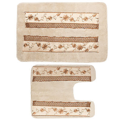 Popular Bath Veronica Bathroom Banded Bath & Contour Rug Set Bath