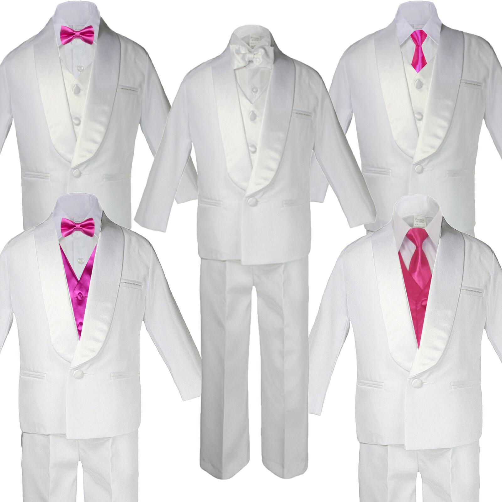 5-7pc Boy White Satin Shawl Lapel Suits Tuxedo Hot Pink S...