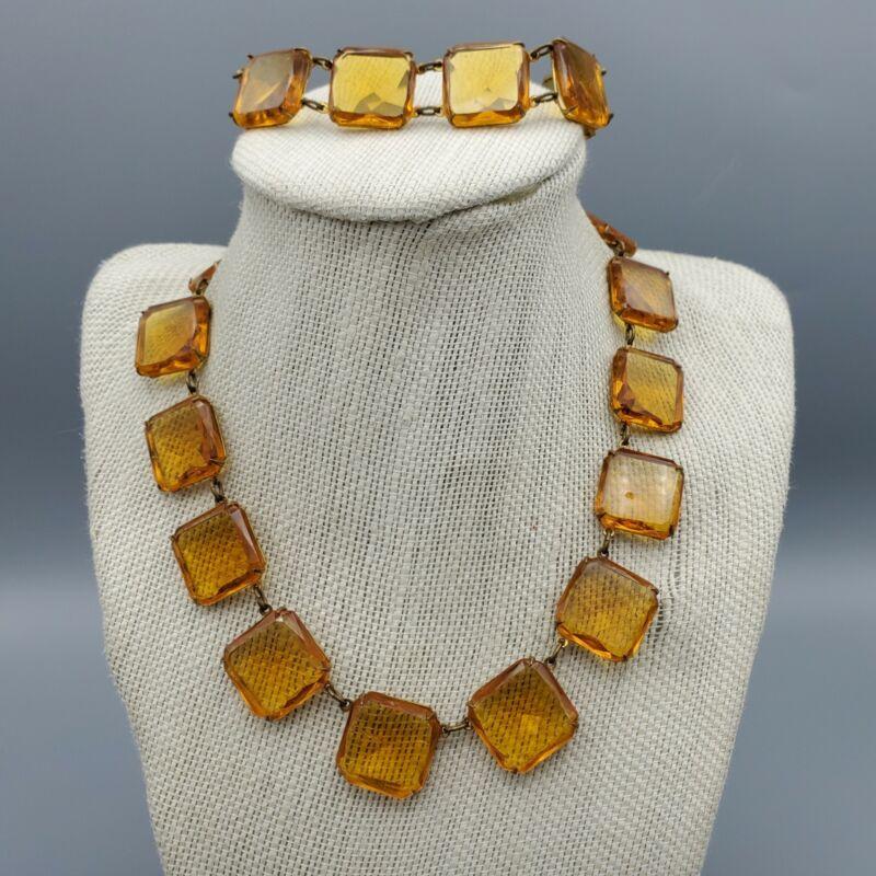 """Demi Parure Czech Art Deco Faceted Amber Glass Bracelet and Necklace 15"""""""