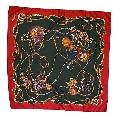 Vintage Scarf Styles -1920s to 1960s Vintage Symphony Scarf Made in Italy 34 Inches Square Large Saddles Horseback $12.90 AT vintagedancer.com