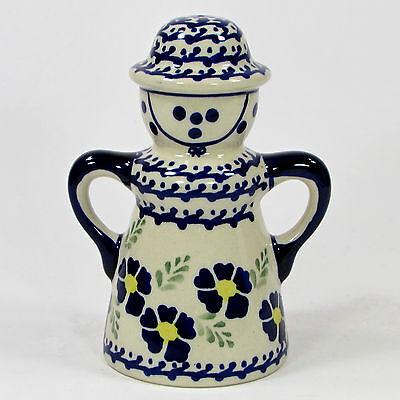 "Manufaktura VIOLETS 5.5"" Lady Pepper Shaker Blue Boleslawiec Polish Pottery"
