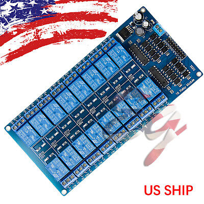 16 Channel 12V 5V Relay Board Module Protection Power Supply For Arduino PIC AVR