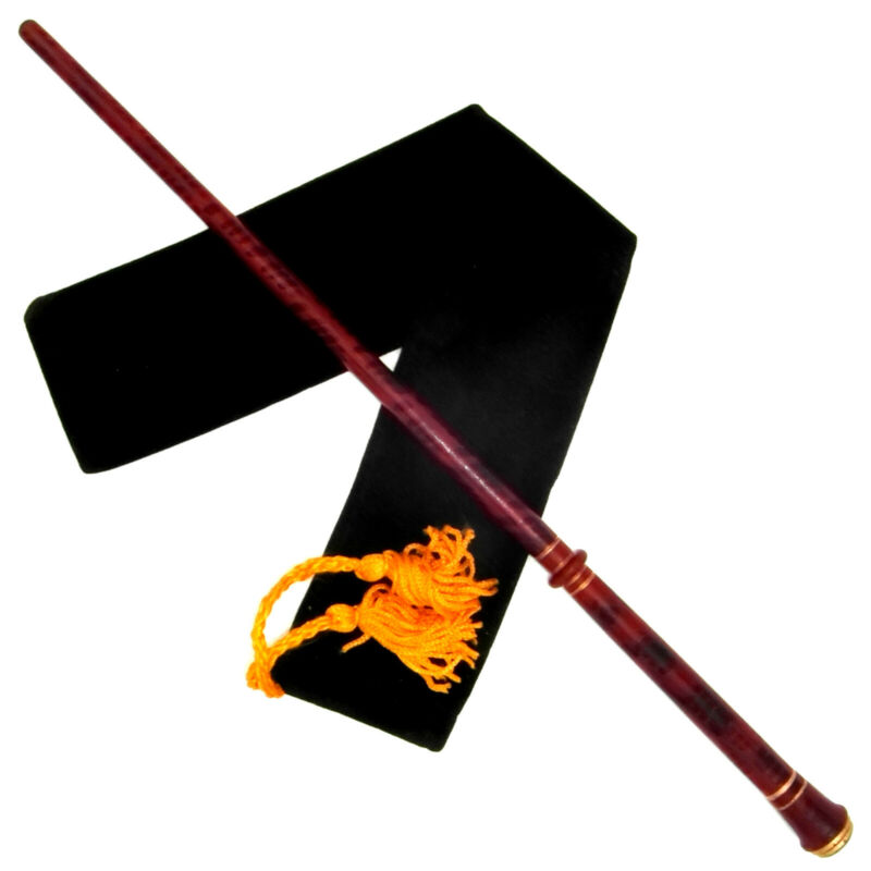 """15 1/2"""" Greyback Hand Turned Mahogany Wood Magic Wand Wizard Witch w/ Velvet Bag"""