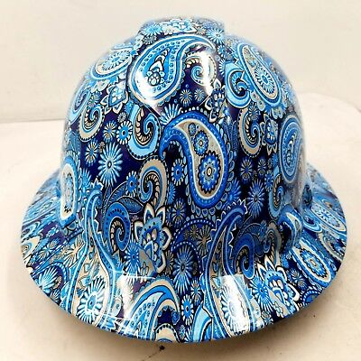 New Full Brim Hard Hat Custom Hydro Dipped Blue Brad Paisleys . Free Shipping