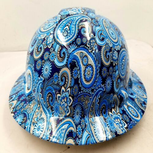 New Full Brim Hard Hat Custom Hydro Dipped Blue Brad Paisleys . Free Shipping!