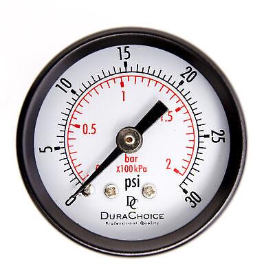 1-12 Utility Pressure Gauge - Blk.steel 18 Npt Center Back 30psi