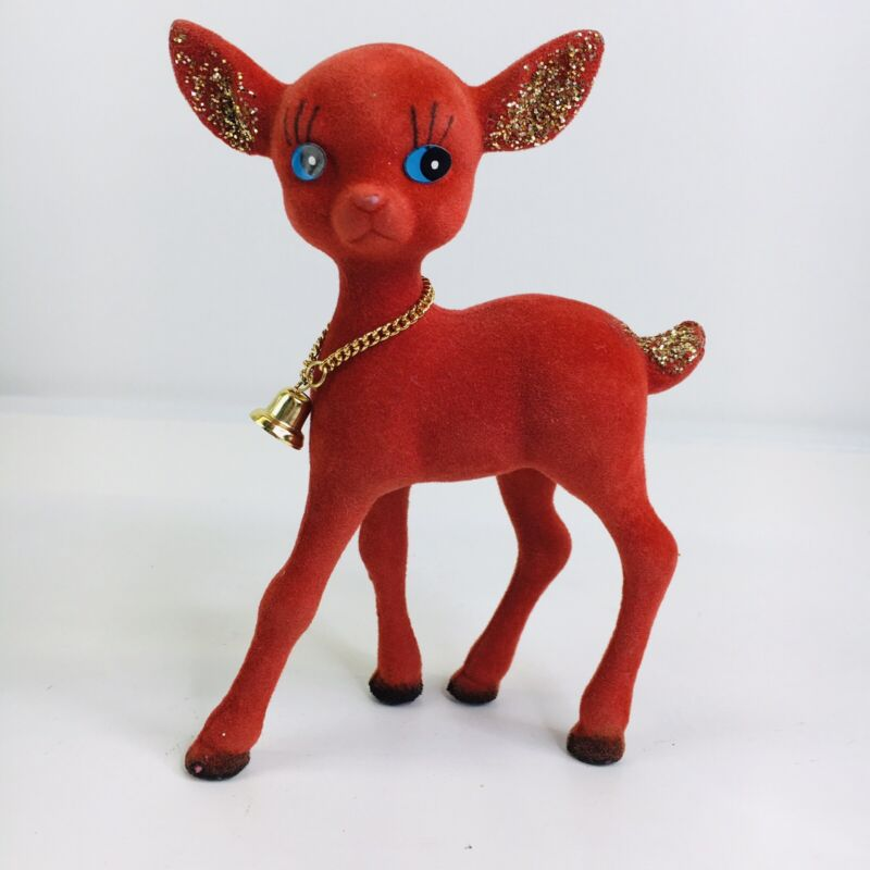 "Vintage Christmas Flocked Red Reindeer Gold Bell Glitter Ears 7"" X 5"""