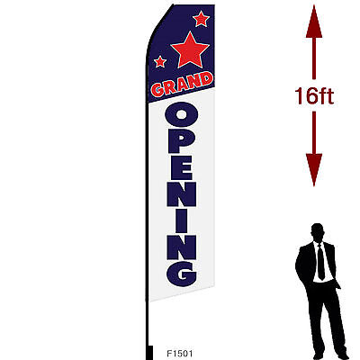 16ft Outdoor Advertising Flag With Pole Set Ground Stake. Grand Opening