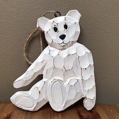 Wooden White Polar Bear Christmas Ornament 5