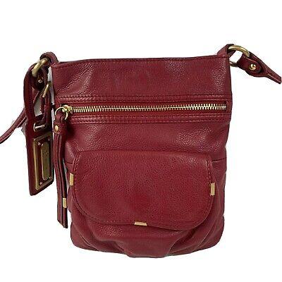 B Makowsky Dark Red Leather Handbag Crossbody Bag Brush Gold Accent