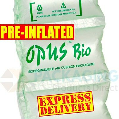 600 x BIODEGRADABLE PRE INFLATED AIR PILLOWS CUSHIONS VOID LOOSE FILL 100x200mm