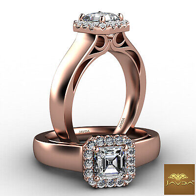 Asscher Diamond Engagement GIA H VVS2 18k White Gold Halo Pave Set Ring 0.7Ct 8