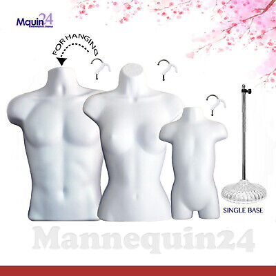 Male Female Toddler Torso Mannequin Set - 3 White Forms 3 Hangers 1 Stand