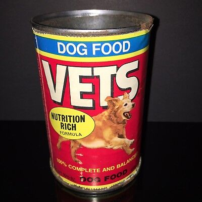 BEST IN SHOW! Vets 1980s Dog Food Tin Can GOLDEN RETRIEVER Paper Label Pet